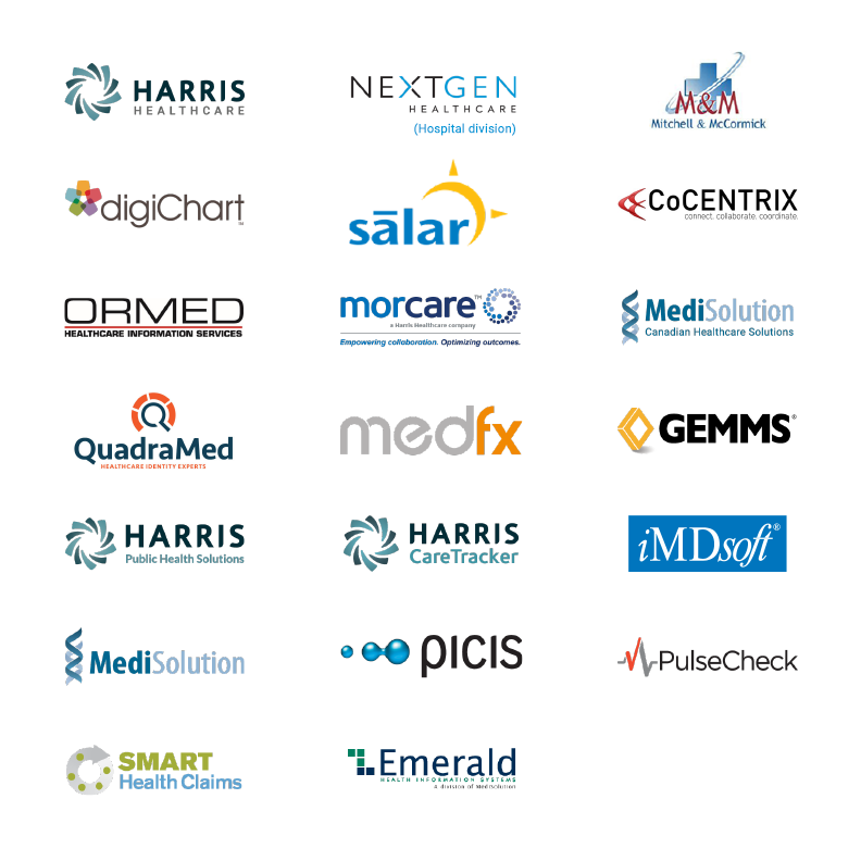 Harris Healthcare, NextGen Healthcare (hospital division), Mitchell & McCormick, digiChart, Salar, CoCentrix, Ormed, MorCare, MediSolution - Canadian Healthcare Solutions, MediSolution, QuadraMed, MedFx, GEMMS, Harris Public Health Solutions, Harris CareTracker, iMDsoft, Picis, PulseCheck, Smart Health Claims, Emerald