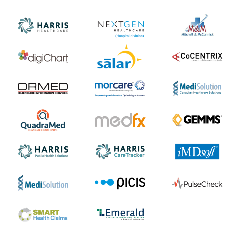 Harris Healthcare, NextGen Healthcare (hospital division), Mitchell & McCormick, digiChart, Salar, CoCentrix, Ormed, MorCare, MediSolution - Canadian Healthcare Solutions, MediSolution, QuadraMed, MedFx, GEMMS, Harris Public Health Solutions, Harris CareTracker, iMDsoft, Picis, PulseCheck, Smart Health Claims, Emerald